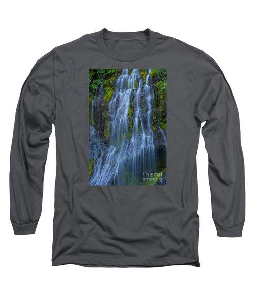 Panther Creek Falls Summer Waterfall -close 2 Long Sleeve T-Shirt