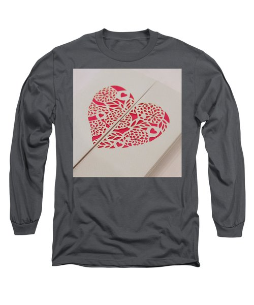 Paper Cut Heart Long Sleeve T-Shirt