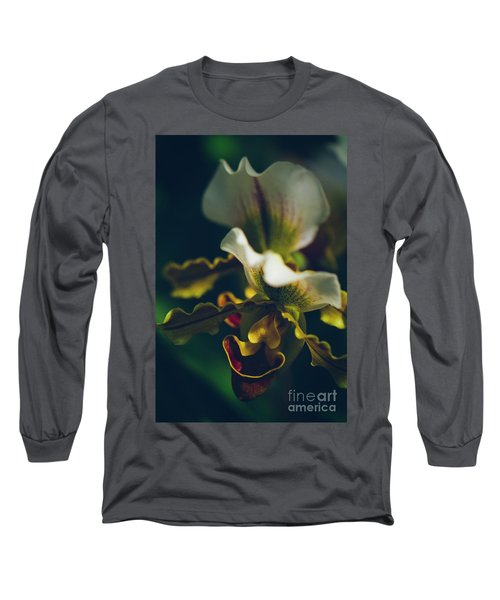 Long Sleeve T-Shirt featuring the photograph Paphiopedilum Villosum Orchid Lady Slipper by Sharon Mau