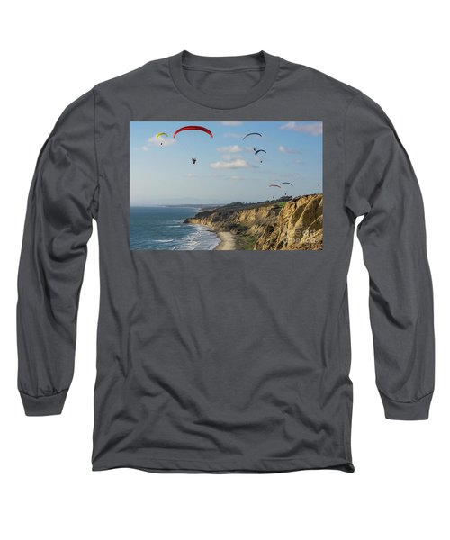 Paragliders At Torrey Pines Gliderport Over Black's Beach Long Sleeve T-Shirt