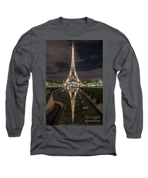 Paris Eiffel Tower Dazzling At Night Long Sleeve T-Shirt