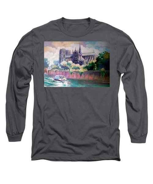 Long Sleeve T-Shirt featuring the painting Paris Notre Dame by Paul Weerasekera
