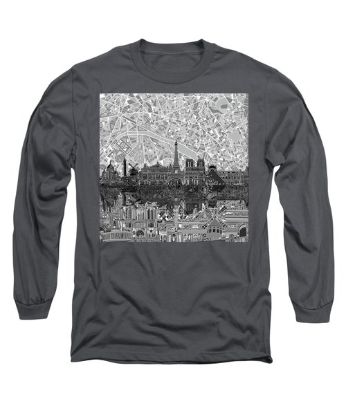 Long Sleeve T-Shirt featuring the painting Paris Skyline Black And White by Bekim Art