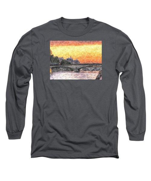 Paris Sunset Long Sleeve T-Shirt by Yury Bashkin