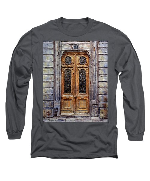 Long Sleeve T-Shirt featuring the painting Parisian Door No. 15 by Joey Agbayani