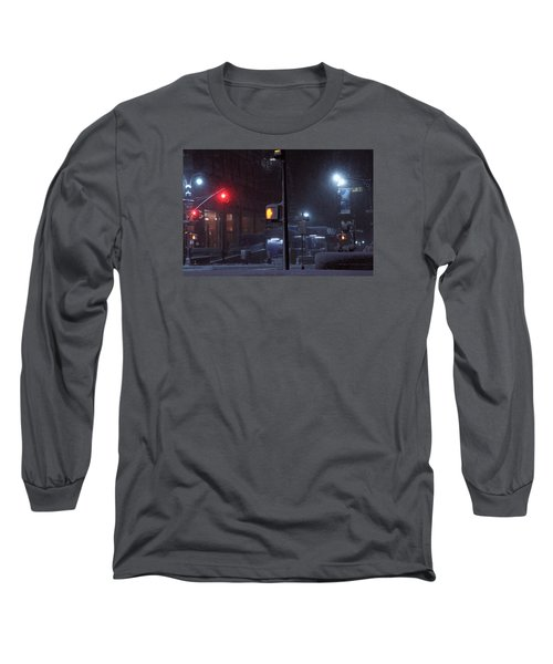 Park Avenue And E46th Street In The Late Night Snow Storm Long Sleeve T-Shirt