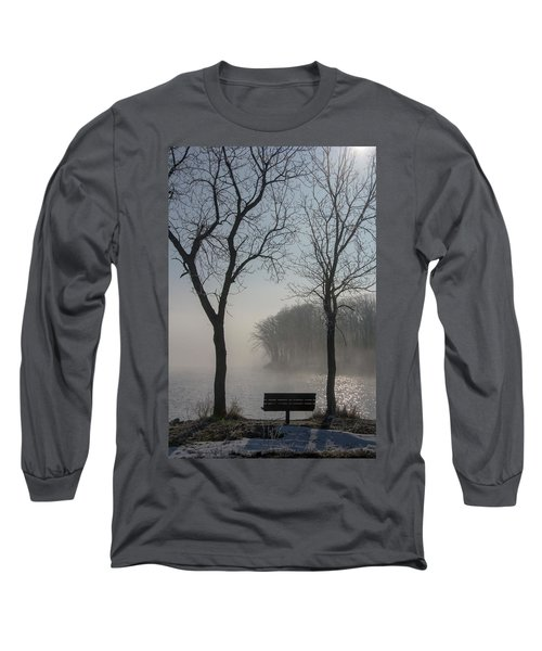 Park Bench In Morning Fog Long Sleeve T-Shirt