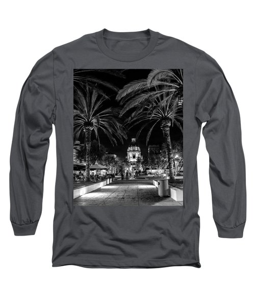 Long Sleeve T-Shirt featuring the photograph Pasadena City Hall After Dark In Black And White by Randall Nyhof