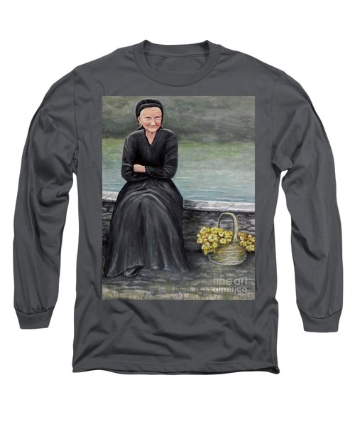 Long Sleeve T-Shirt featuring the painting Pasqualina Di Scanno by Judy Kirouac