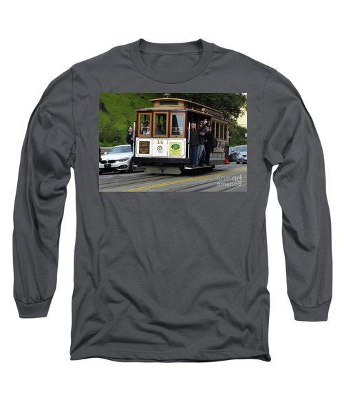 Passenger Waves From A Cable Car Long Sleeve T-Shirt by Steven Spak