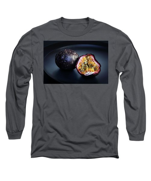 Passion Fruit On Black Plate Long Sleeve T-Shirt