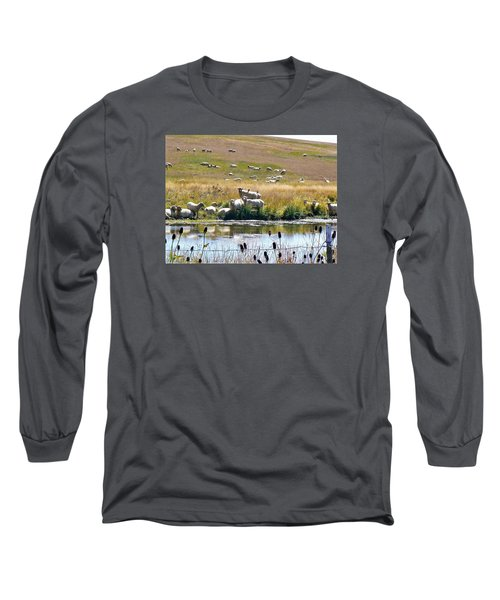 Pastoral Sheep By Pond Long Sleeve T-Shirt