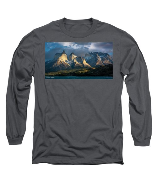 Patagonian Sunrise Long Sleeve T-Shirt by Andrew Matwijec