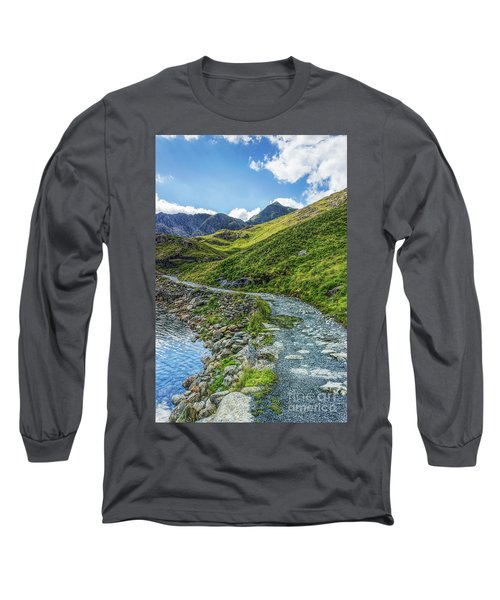 Path To Snowdon Long Sleeve T-Shirt by Ian Mitchell