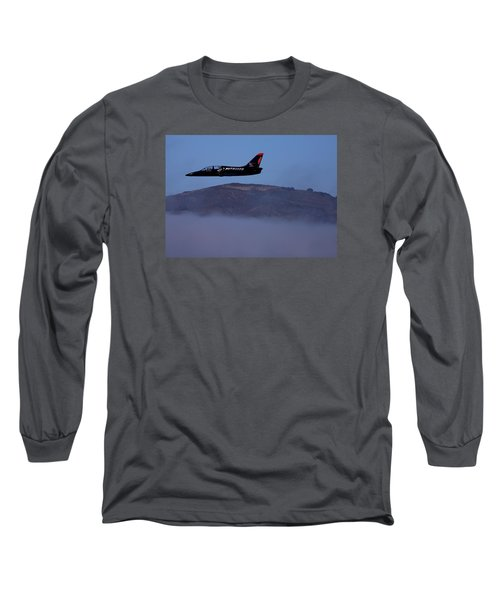 Patriot Jet Skims The Fog Over San Francisco Bay Long Sleeve T-Shirt