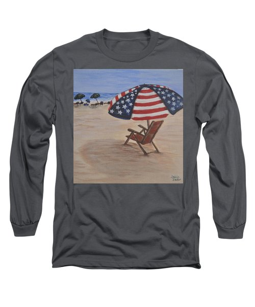 Long Sleeve T-Shirt featuring the painting Patriotic Umbrella by Debbie Baker