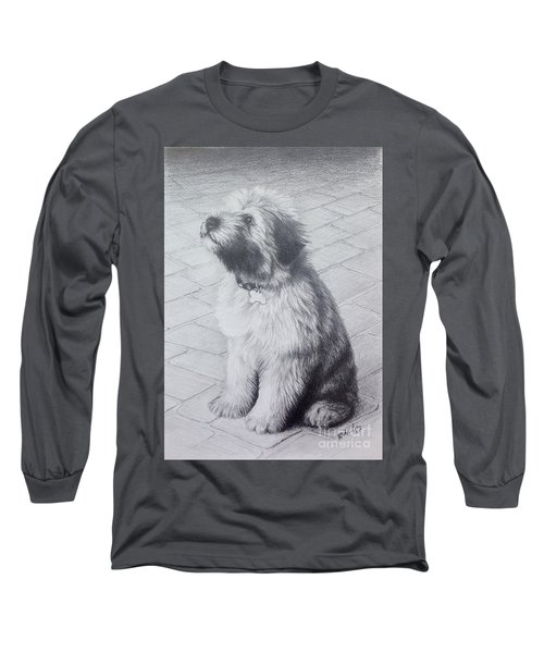 Long Sleeve T-Shirt featuring the drawing Patsy's Puppy by Mike Ivey