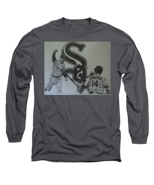 Paul Konerko Collage Long Sleeve T-Shirt by Melissa Goodrich