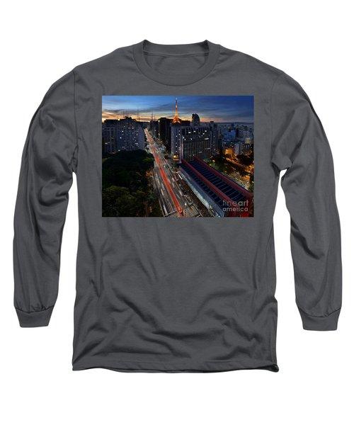 Paulista Avenue And Masp At Dusk - Sao Paulo - Brazil Long Sleeve T-Shirt