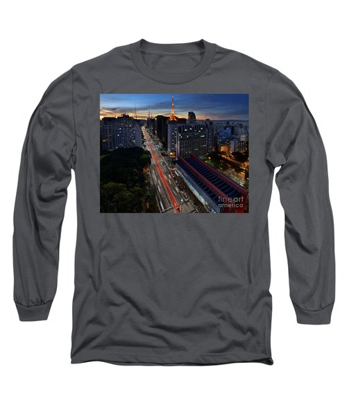 Paulista Avenue And Masp At Dusk - Sao Paulo - Brazil Long Sleeve T-Shirt