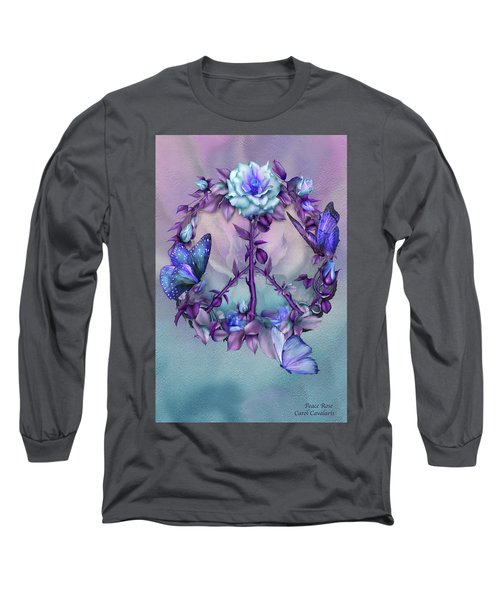 Long Sleeve T-Shirt featuring the mixed media Peace Rose - Blue by Carol Cavalaris