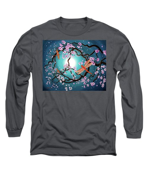 Peace Tree With Orange Dragonflies Long Sleeve T-Shirt