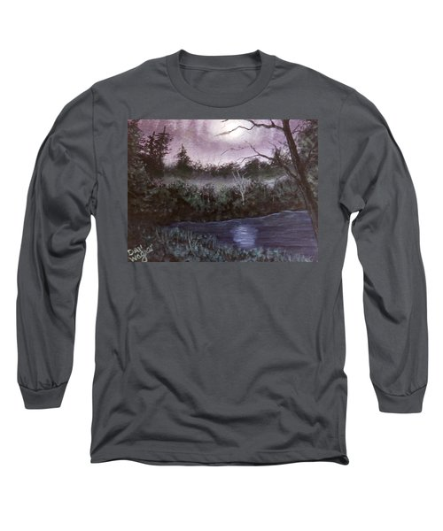 Long Sleeve T-Shirt featuring the painting Peaceful Pond by Dan Wagner