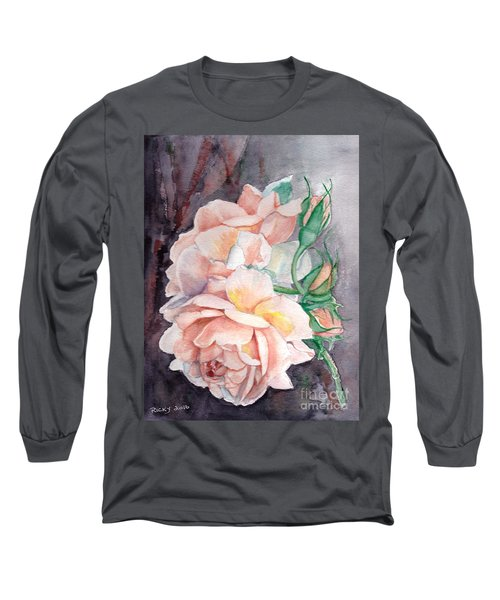 Peach Perfect - Painting Long Sleeve T-Shirt by Veronica Rickard