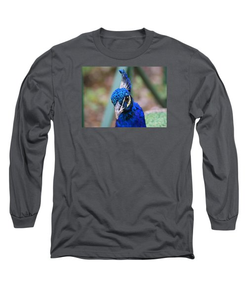 Long Sleeve T-Shirt featuring the photograph Peacock Blue by Lisa L Silva