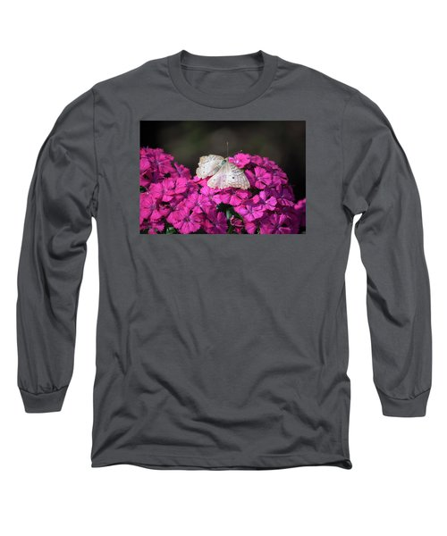 Peacock Butterfly On Fuchsia Phlox Long Sleeve T-Shirt by Suzanne Gaff