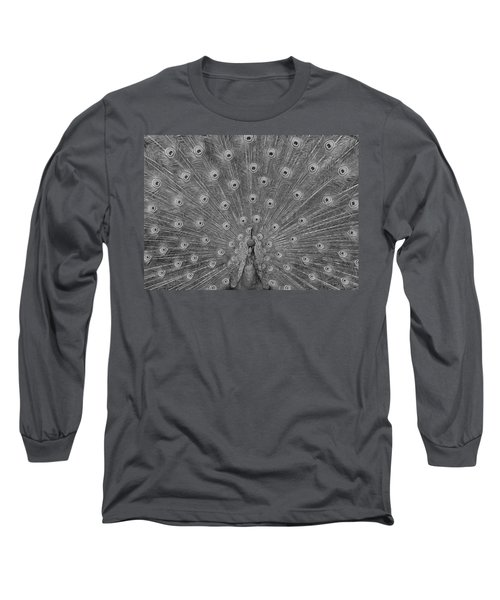 Long Sleeve T-Shirt featuring the photograph Peacock Fanfare - Black And White by Diane Alexander