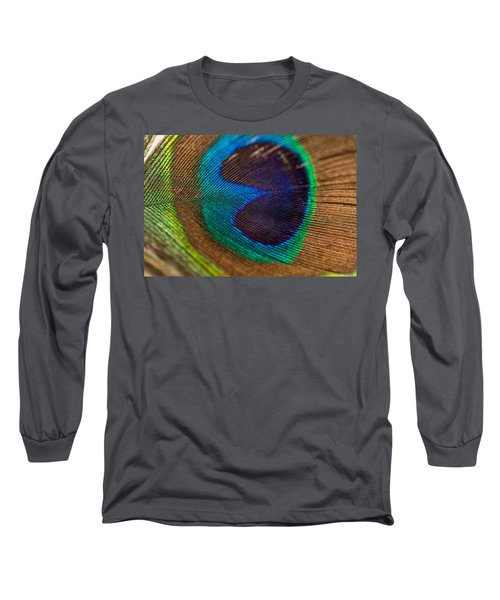 Peacock Feather Macro Detail Long Sleeve T-Shirt