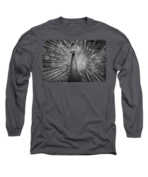 Peacock In Black And White Long Sleeve T-Shirt