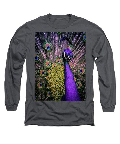 Peacock In Purple 2 Long Sleeve T-Shirt