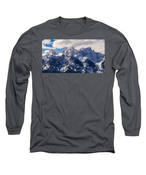 Peaks Of The Tetons Long Sleeve T-Shirt by Serge Skiba