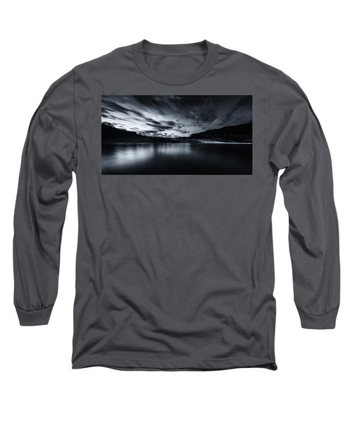 Peddernales Falls Long Exposure Black And White #1 Long Sleeve T-Shirt by Micah Goff