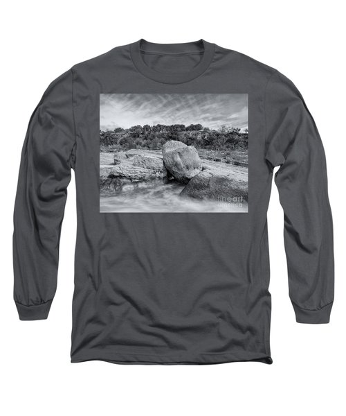 Pedernales River Falls In Black And White - Texas Hill Country Long Sleeve T-Shirt