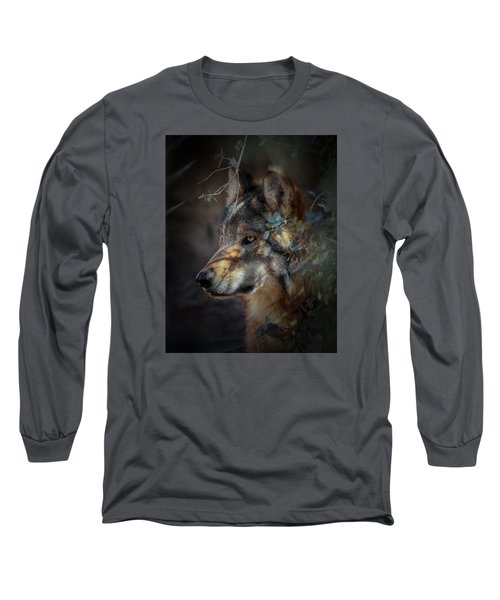 Peeking Out From The Shadows Long Sleeve T-Shirt by Elaine Malott