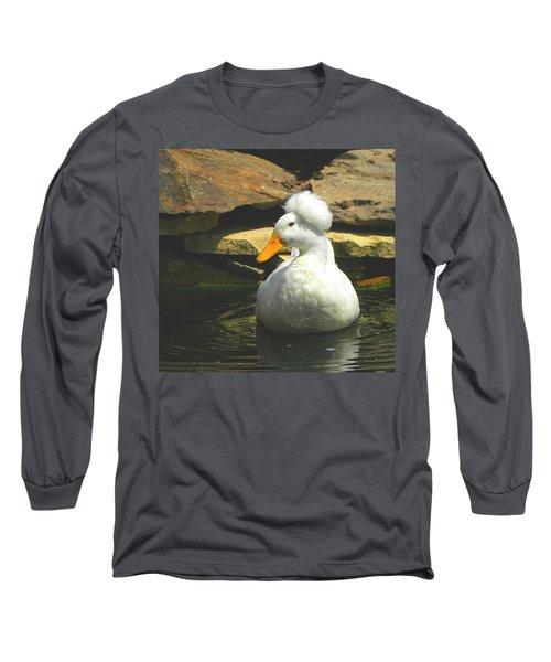 Long Sleeve T-Shirt featuring the photograph Pekin Pop Top Duck by Sandi OReilly