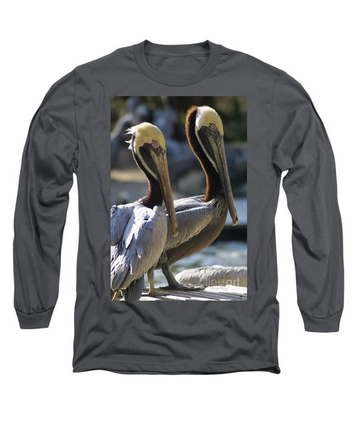 Long Sleeve T-Shirt featuring the photograph Pelican Duo by Dodie Ulery