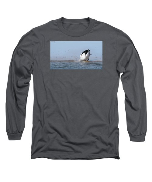 Long Sleeve T-Shirt featuring the photograph Pelican Fishing 001 by Kevin Chippindall