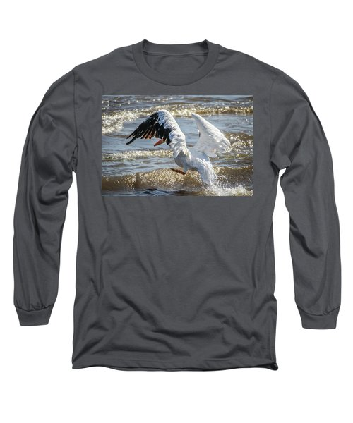 Pelican Jump Long Sleeve T-Shirt by Ray Congrove