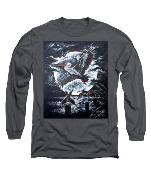 Pelican Moon Long Sleeve T-Shirt by Scott and Dixie Wiley