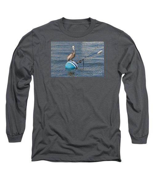 Pelican On A Buoy Long Sleeve T-Shirt by Loriannah Hespe