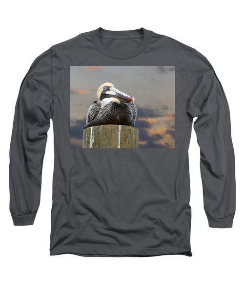 Pelican Perch Long Sleeve T-Shirt by Betty Denise