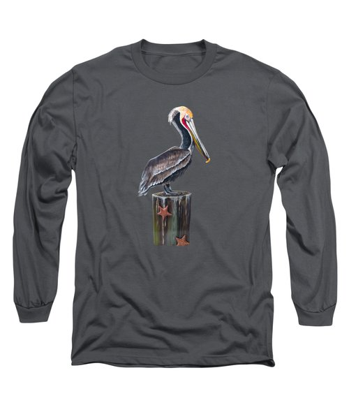 Pelican Standing On A Piling Long Sleeve T-Shirt by Jennifer Rogers