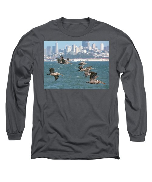 Pelicans Over San Francisco Bay Long Sleeve T-Shirt