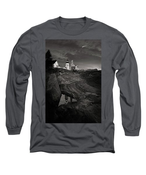 Pemaquid Lighthouse At Dawn Black And White Long Sleeve T-Shirt