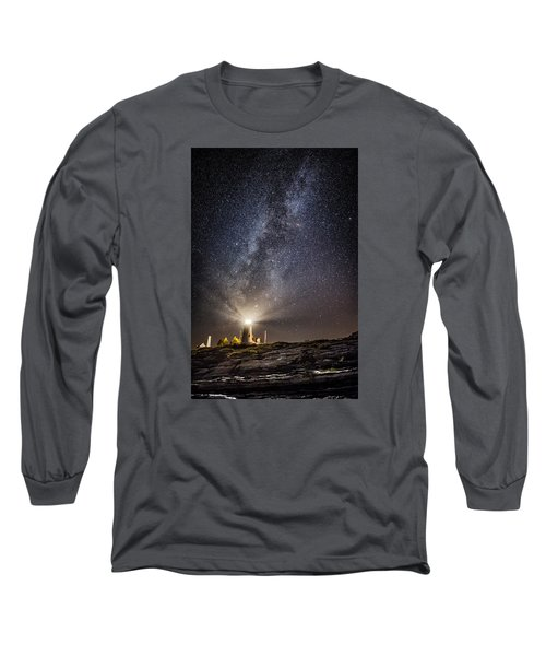 Long Sleeve T-Shirt featuring the photograph Pemaquid Point Milky Way by Robert Clifford