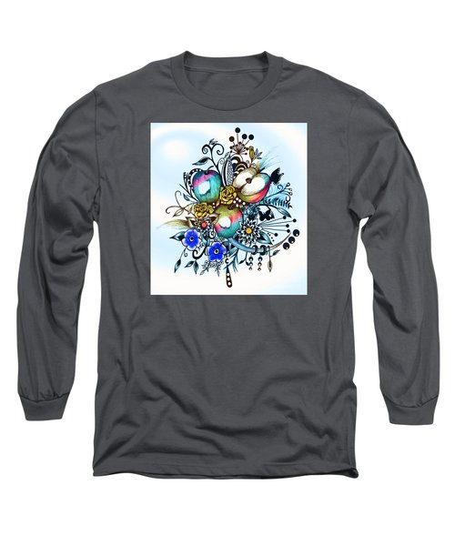 Long Sleeve T-Shirt featuring the drawing Pen And Ink Drawing, Colorful Apples, Watercolor And Digital Painting by Saribelle Rodriguez
